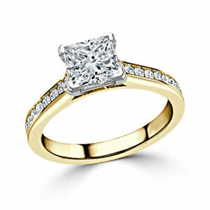 1.60 Ct Princess Solitaire Moissanite Wedding Ring 14K Solid Yellow Gold Size 6