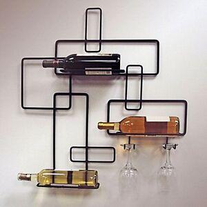 Retro-bouteille-de-vin-et-verres-vin-rack-mural-en-metal-noir-Support-Stockage