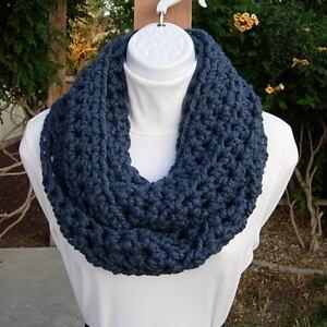 INFINITY-SCARF-LOOP-COWL-Solid-Denim-Blue-Wool-Winter-Handmade-Soft-Crochet-Knit