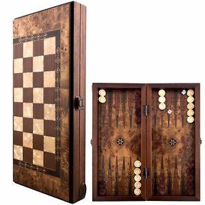 Backgammon-ROYAL-Set-Mosaic-amp-Carved-Design-Foldable-Boxwood-Chess-Board