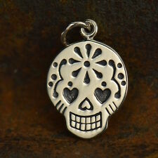 925 Sterling Silver Mexican Sugar Skull Charm Skeleton Day of Dead Honor 1073