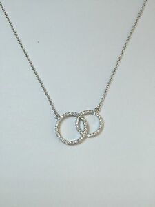 925 Sterling Silver Double Cz Interlocking Circle Of Life