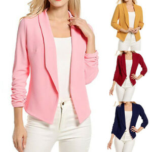 Hot-Casual-Slim-Solid-Suit-Blazer-Jacket-Coat-Outwear-Women-Fashion-Candy-Color