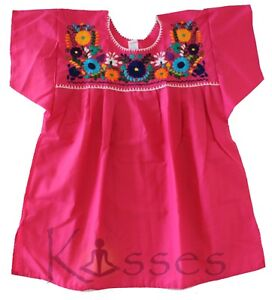 Details About Mexican Peasant Blouse Hand Embroidered Top Colors Vintage Style Tunic Hot Pink