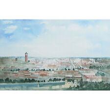 Tim Jones Lyon France Panoramic Modern Landscape Townscape Watercolour Painting
