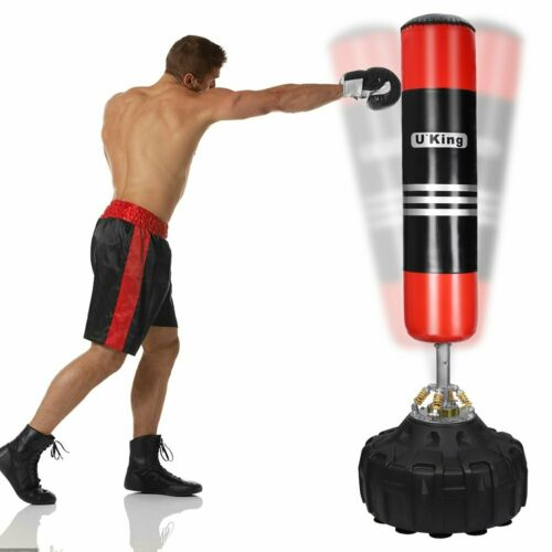 6ft Filled Heavy Kick Boxing Standing Boxing Punch Bag Strength Training Gloves