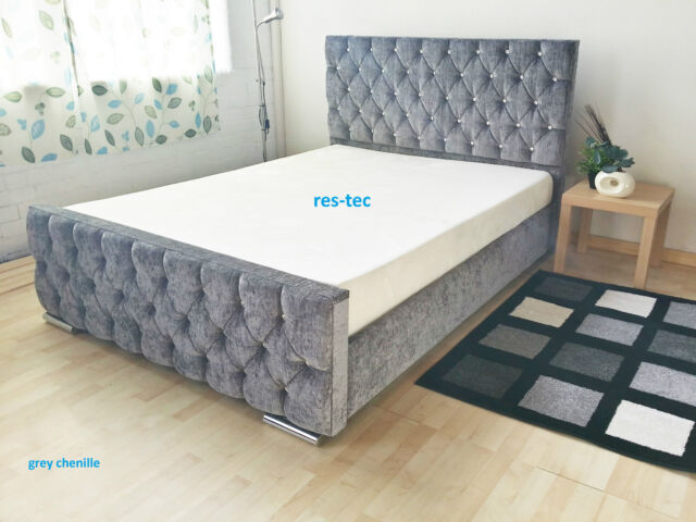 UPHOLSTERED FABRIC BED FRAME CHENILLE LEATHER DOUBLE 5FT KING SIZE MANY COLOURS