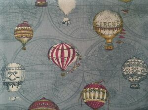 Retro Cotton Linen Blend Fabric Hot Air Balloons on Green FQ Half Metre - <span itemprop=availableAtOrFrom>Harrow, Middlesex, United Kingdom</span> - Retro Cotton Linen Blend Fabric Hot Air Balloons on Green FQ Half Metre - Harrow, Middlesex, United Kingdom