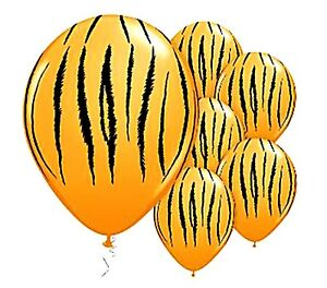 image is loading tiger striped gold balloons x 6 jungle safari