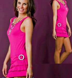 SeXy-Volant-Mini-Kleid-Guertel-Look-Kette-34-36-38-Freesize-pink-TOP-NEU