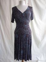 "Ladies Dress - Oasis, size 10, brown/blue floral viscose 46"" long stretch 2256"