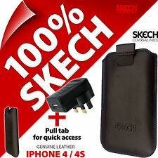 Skech Pouch Pull Tab GENUINE LEATHER Case for iPhone 3GS 4 4S +USB Mains Charger