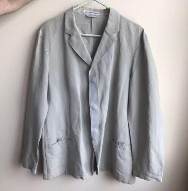 Emporio Armani Mens Blazer Sport Coat Made In Italy Linen Cotton Beige US Sz 42