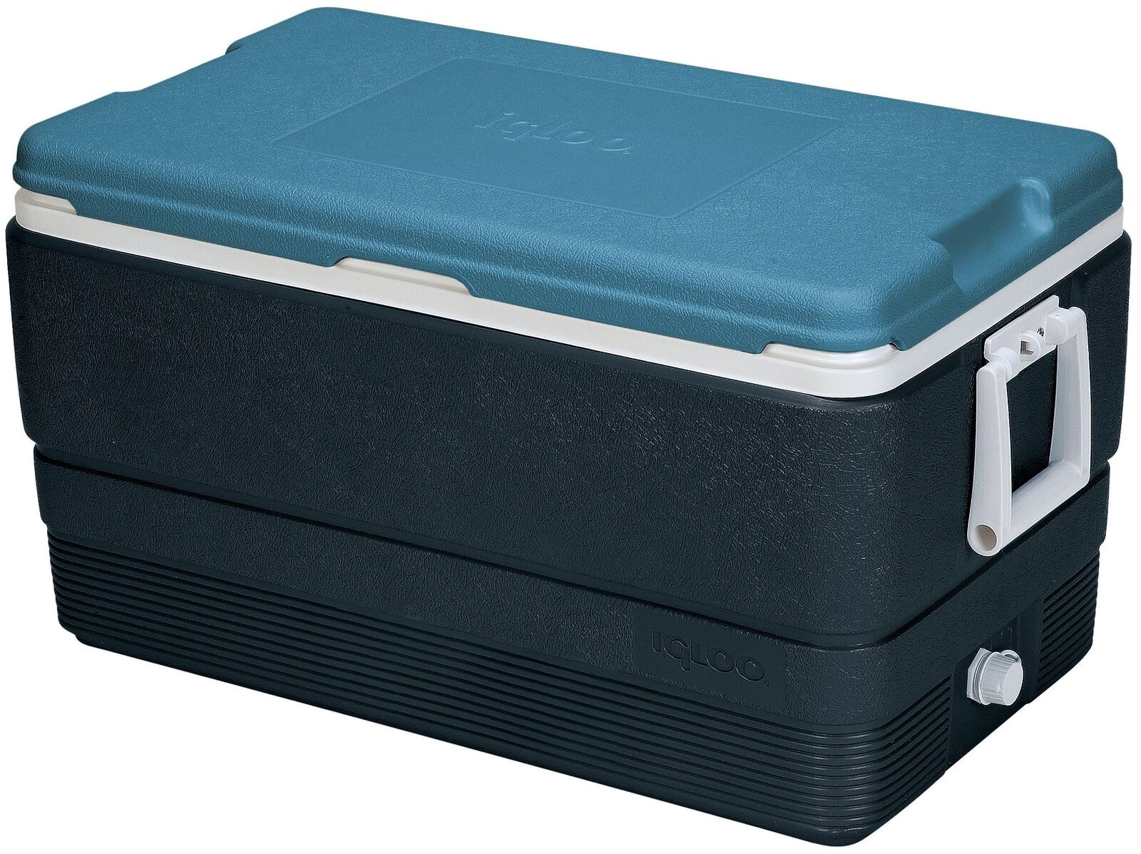 Igloo Maxcold Cooler Jet Carbon Bluee White 70 Quart Ice