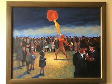 A Fire Breather Modern Contemporary Oil Painting Signed Initials 2012