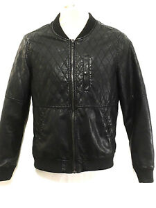 Bershka Mens Jacket Small Bomber Black Faux Vegan Leather Flight ... 21cbcb9b2