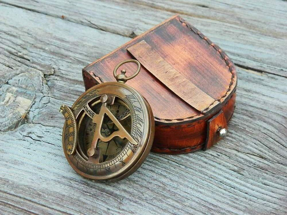 Antique Sundial Compass with Leather Case/Brass Compass/Gift for Him/Engraved