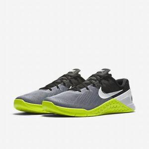 a1864cb796c4c Details about Nike Metcon 3 Training Men's Shoes Grey Black Volt White Size  11 12 852928-001