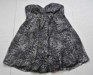 Detalles De Bebe Valerie Vestido Estampado Leopardo M Seda Sin Tirantes Gris Nwt