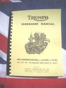 Shop Manual Fits 1969 Triumph T100r Daytona Tiger Trophy 500cc  T100 Workshop