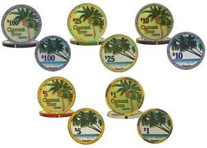 Ceramic-Poker-Chips-Coconut-Tree-Casino-Weight-Clay-Feel-Marble-Finish-Jamaica