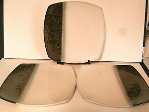 Sango Reflection Black Dinner Plates 4776 Square Textured Stripe--Lot of 3!!