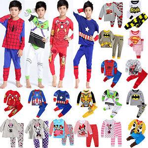 US-Cartoon-Kids-Toddler-Baby-Boys-Girls-Costume-Pyjamas-Pajamas-Sets-Sleepwear