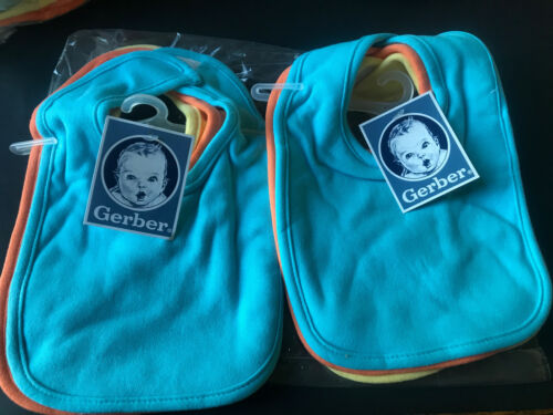 Gerber Bibs Infant Newborn Terry Cloth Two 3-Packs 6 Total Bibs e