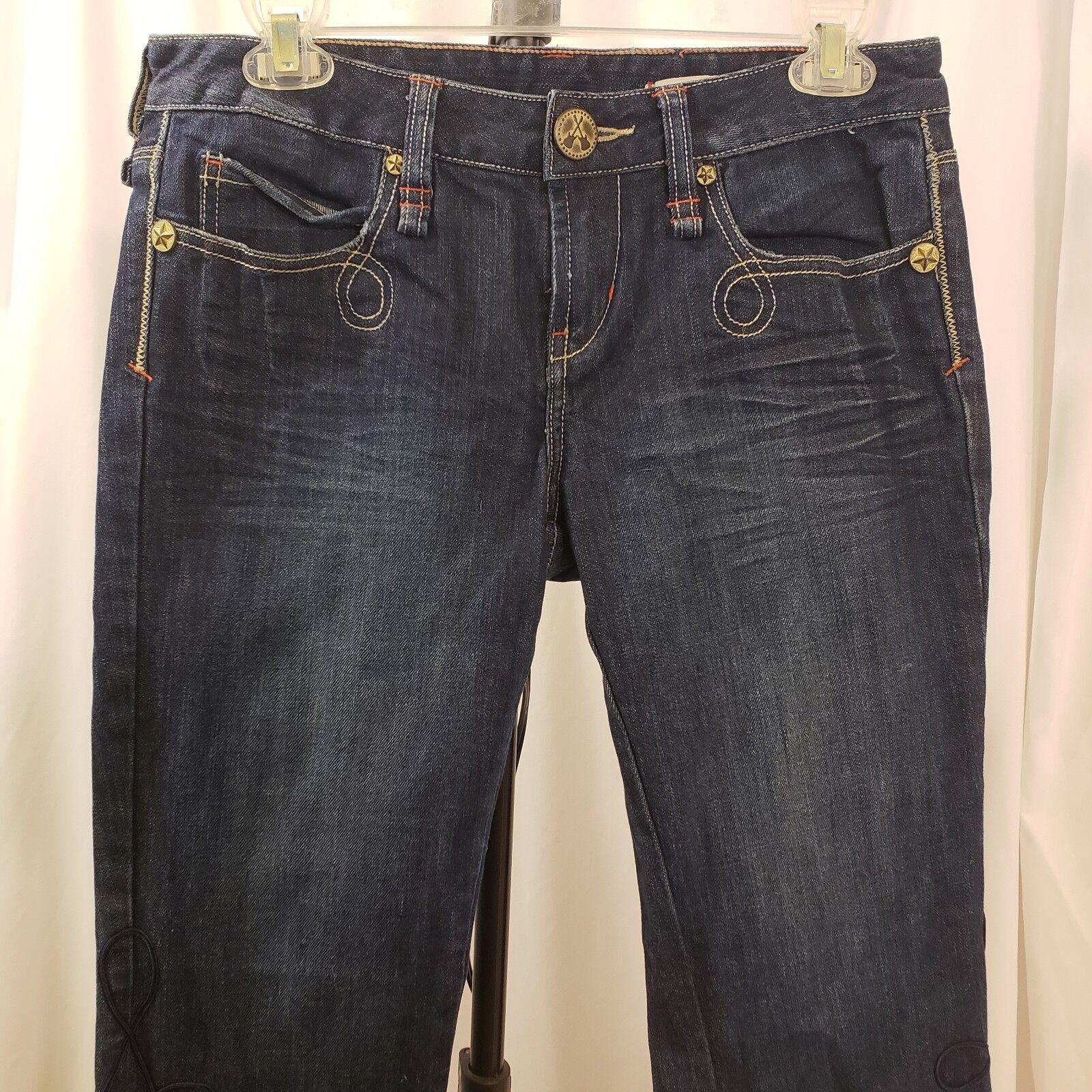 1354fe91f51 Crop Jeans Denim Capri BCBG Rock roll Festival Pants Guitar Buttons ...