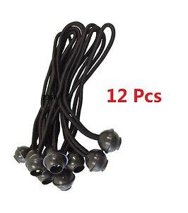 "(12pc) 9"" Black Ball BUNGEE Cord Tarp Bungee Tie Down Strap Bungi Canopy Straps"