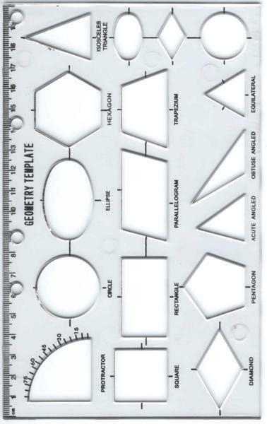 geometry stencil plastic template with ruler and holes for binder school