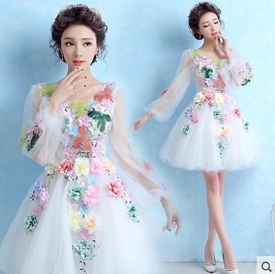 New Flower Fairy Dress Wedding Party Long Sleeve Slim Fit Summer Formal Dress