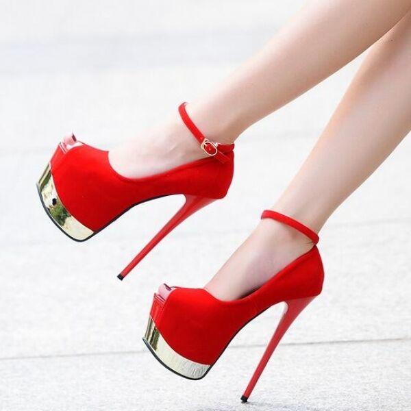 Sandals heel 17 plateau red elegant strap stiletto like leather CW550