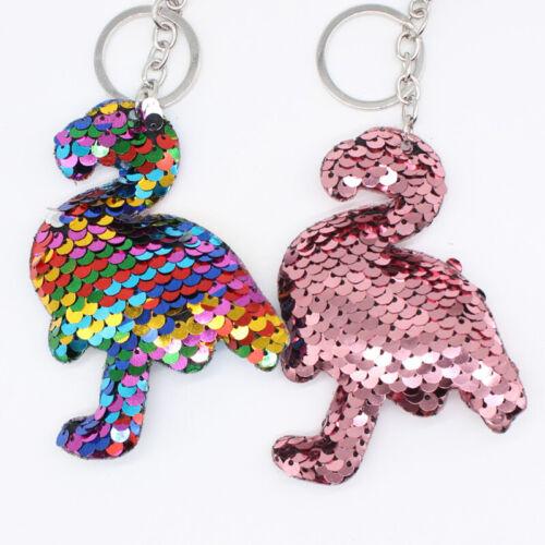 Lovely Glitter Sequin Flamingo Keyring Keychain Bag Charms Pendant Hanging Decor