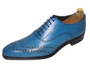 CHAUSSURE ITALIENNE LUXE HOMME CUIR NEUF BLEU COUSU MAIN