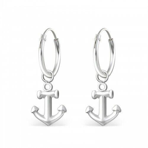 925 Sterling Silver Anchor Beach Shell Nautical Stud Earrings /& Gift Box