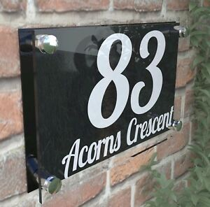 House Door Gate Number Plaque Wall Sign Name Plate Glass Acrylic Aluminium