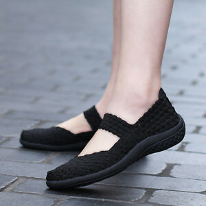 Women-Slip-On-Walking-Shoes-Woven-Elastic-Mary-Jane-Flat-Lightweight-Fashion