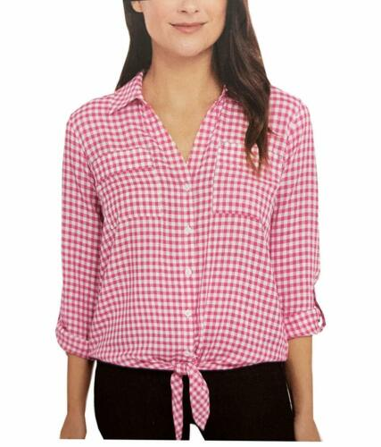 Jones New York Womens Front Tie Button Down Blouse Top Baby Gingham Pink