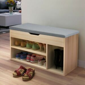 Details About Hallway Storage Bench Seat Shoe Cabinet With Drawers Wooden Grey Home Furniture
