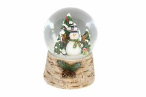 Gisela-Graham-Snowman-with-Tree-Musical-Snowdome-Wooden-Base-Snowdome
