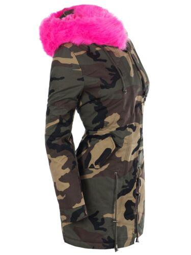 Damen Jacke Mantel Gefüttert Camouflage Trenchcoat Parka Kunstfell Kapuze