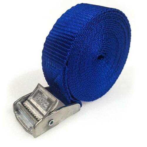 3 Buckled Straps 25mm Cam Buckle 5 meters Long Heavy Duty Load Securing Blue