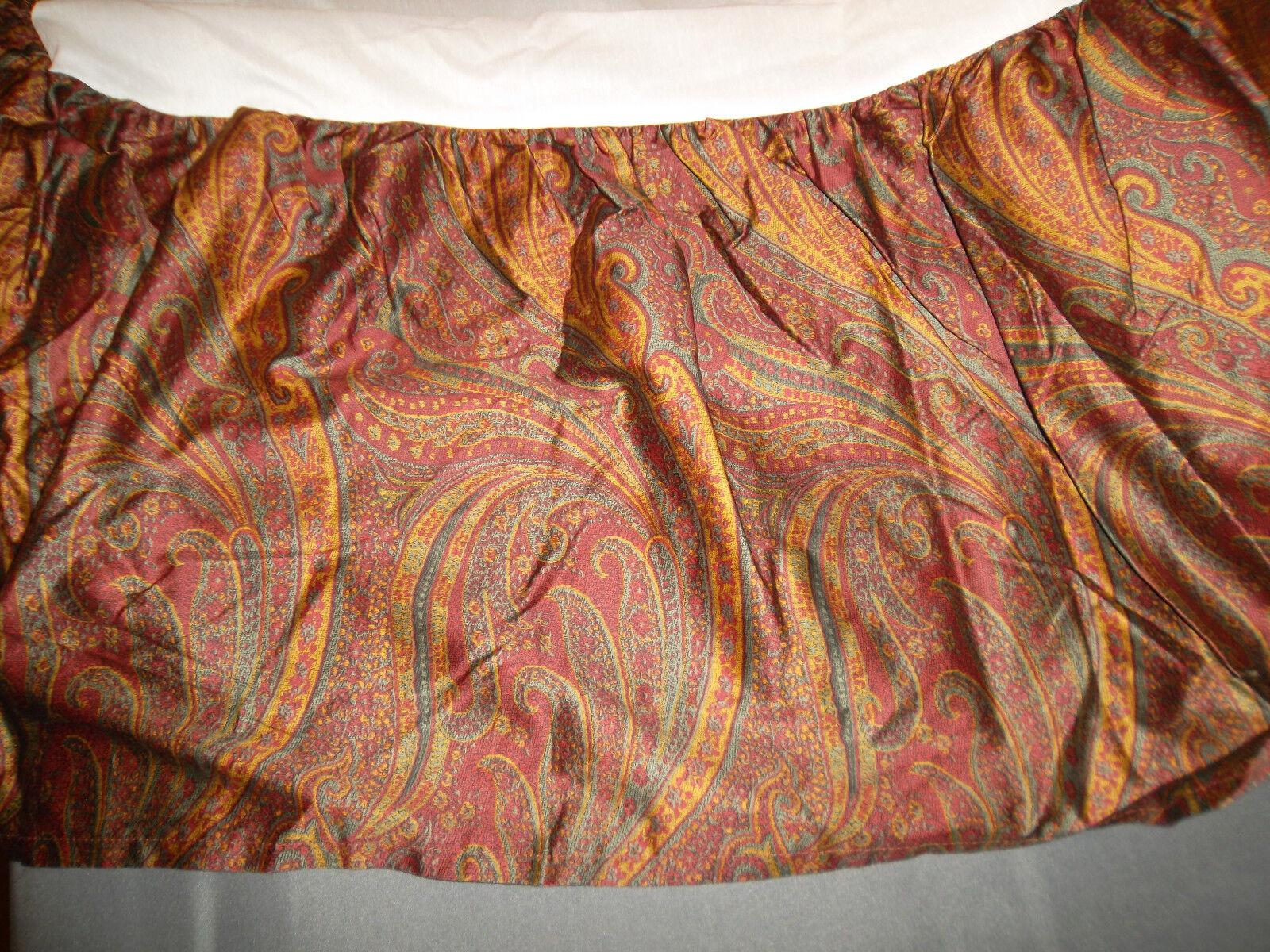 Ralph Lauren Home Great Barrington Paisley King Bed Skirt Burgundy Split Corner