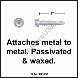12 x 1 Hex Washer Unslotted Self-Drilling Screws 410 Stainless Steel 100 count