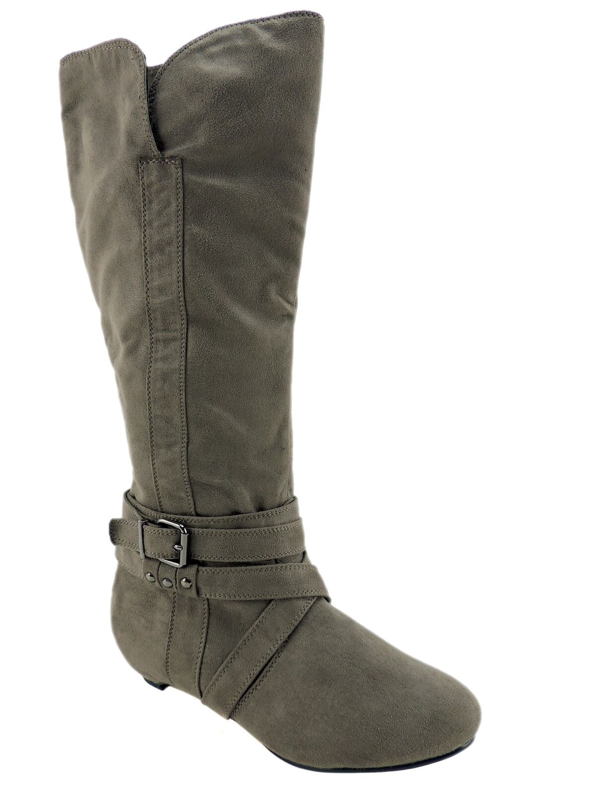 Journee Women's Link-19 Slouch Boots Faux Suede Taupe Size EU 37 1/2/US 7.5 M