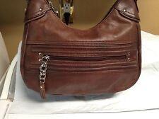 STONE MOUNTAIN Cognac Brown Leather Shoulder Satchel Handbag Tote Hobo