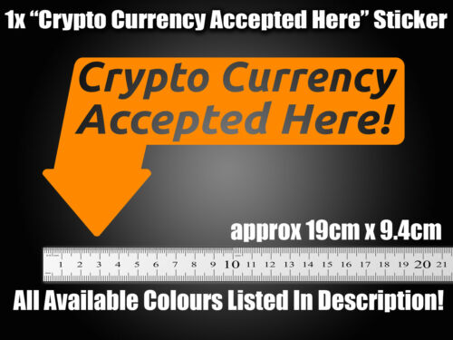 Crypto Currency accepted Sticker decal POS shop shopfront store sign ETH BTC LTC