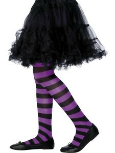 Purple-Black-Striped-Tights-Witch-Fancy-Dress-Accessory-Age-6-12
