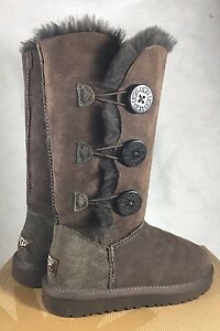 ugg bailey button triplet triple button 1873 boots chocolate 5 rh ebay com